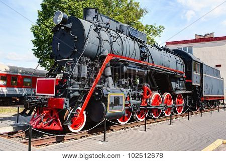 Old steam locomotive. Klaipeda city Lithuania