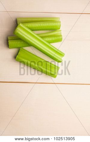 Pieces of celery on the table