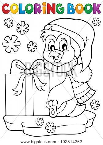 Coloring book penguin with gift - eps10 vector illustration.