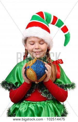 Girl In Suit Santa's Elf With A Christmas Ball.