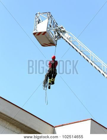 Firefighter Down With The Rope In The Building During A Fire Alarm