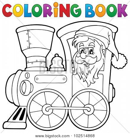 Coloring book Christmas locomotive 1 - eps10 vector illustration.