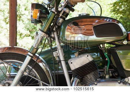 Otranto, Italy - September 12 2015. Jawa 350 Sidecar Detail With Brand