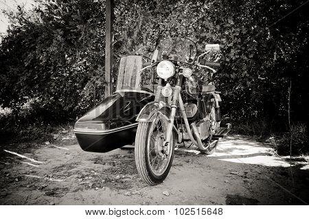 Otranto, Italy - September 12 2015. Jawa 350 Sidecar