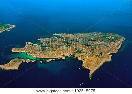 Comino Island aerial bird view