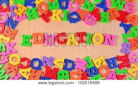 Education Written By Plastic Colorful Letters