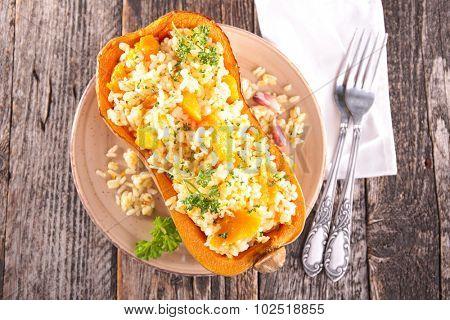 risotto in pumpkin bowl