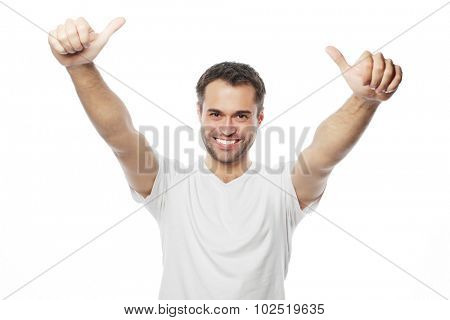 life style  and people concept: Happy handsome man wearing white t-shirt showing thumbs up over isolated background
