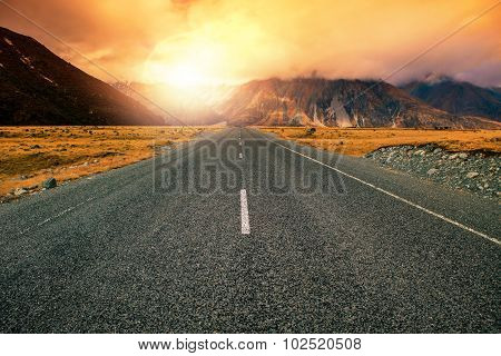 Beautiful Land Scape Of Asphalt Highways Perspective To Sun Set Mountain Use For Multipurpose Natura
