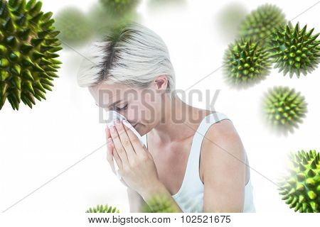 Sick woman blowing her nose against virus