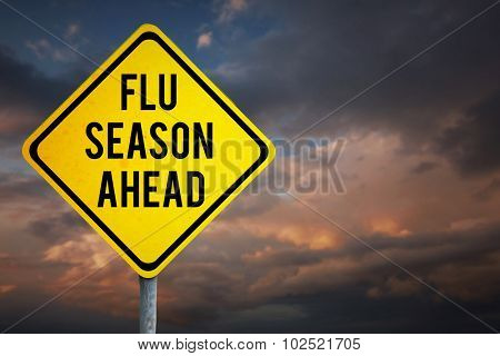 flu season ahead against blue and orange sky with clouds