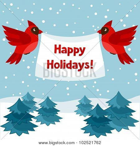 Happy holidays greeting card with birds red cardinal