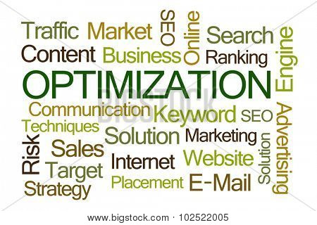 Optimization Word Cloud on White Background