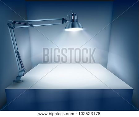 Table with a desk lamp. Vector illustration.