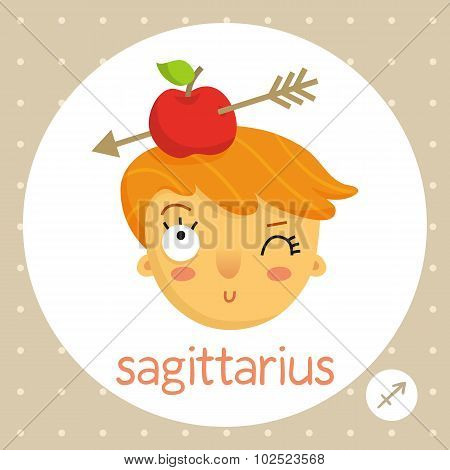 Sagittarius Zodiac Sign, Girl With Apple On Head Pierced By Arrow