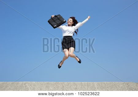 Successful Business Woman Jump