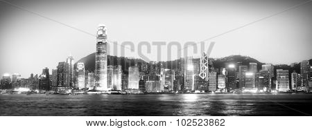 Hong Kong Panorama Night Victoria Harbour Concept