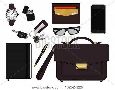 Businessman items. Color