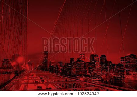 The Brooklyn Bridge Financial District Night Concept