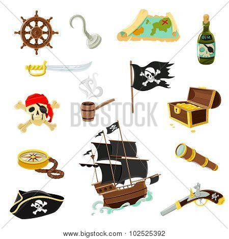 Pirate accessories flat icons set