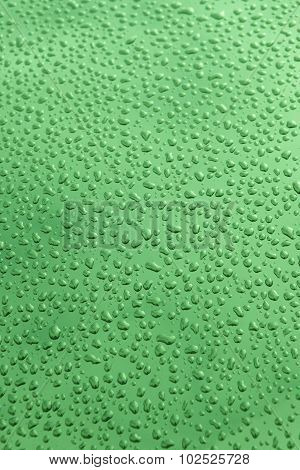Drops Of Water Background In Green Tone
