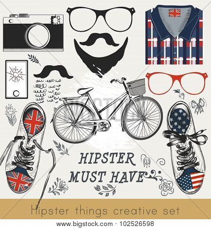 Creative Vector Set Of Hipster Must Havehipster Vector Set Of Hipster Must Have Things