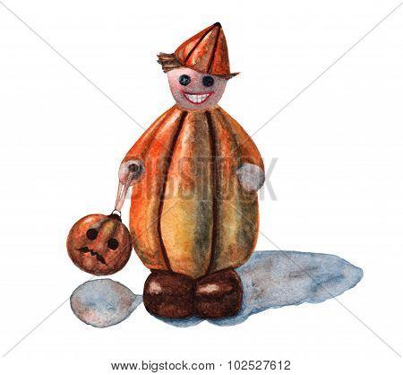 Halloween pumpkin little man statuette