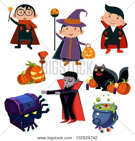 Halloween Cute Witches  set