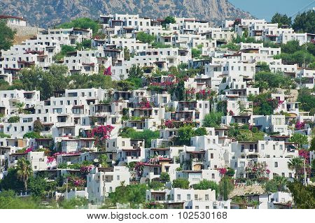 View to the residential area buildings in Bodrum, Turkey.