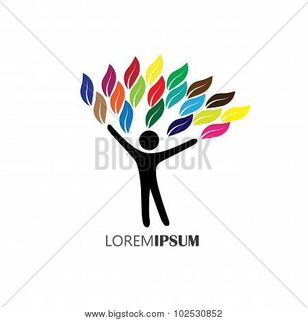 People Tree Logo With Colorful Leaves, Eco Concept Vector
