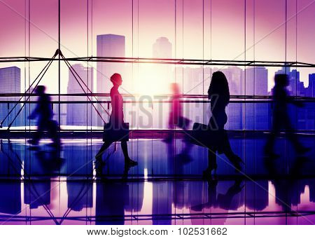 People Walking Mall Cityscape Shopaholic Concept