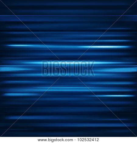 Abstract background. Motion blue horizontal lines. Vector technology backdrop for cover magazine, ba