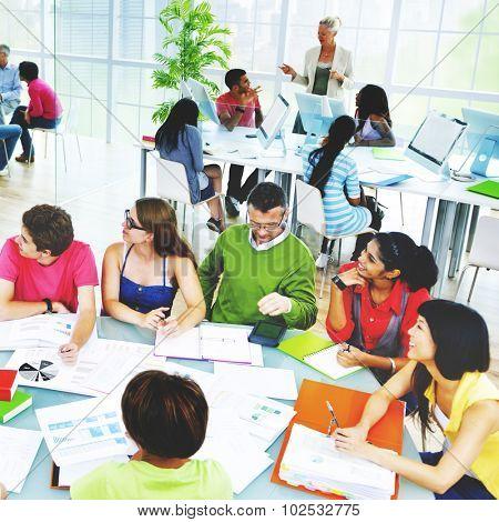 Students University Studying Professor Communication Concept