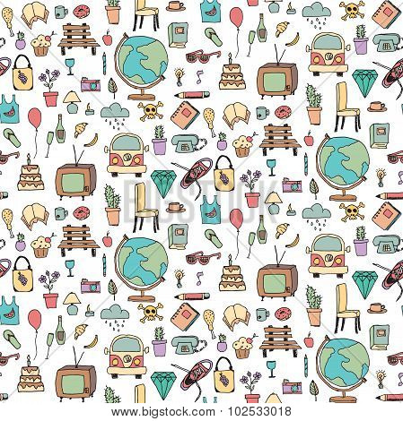 Everyday Things, Hand drawn, Colorful, Seamless Pattern