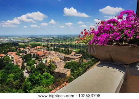 Agricultural Landscape With Old Village In Toscana