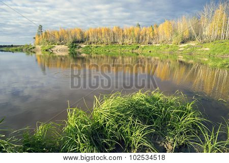 Autumn landscape on the shores of lake
