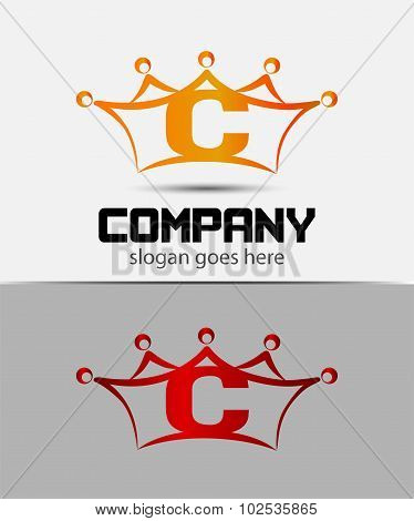 Letter c logo with crown icon design template elements