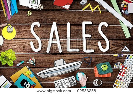 Sales Selling Accounting Income Money Concept