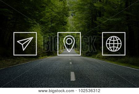 Location Navigation Travel Trip Place Journey Concept