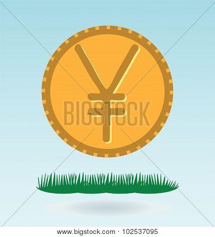 Yen Symbol Icon. Grass Concept.
