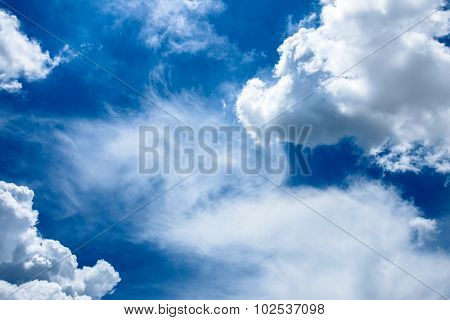 Beautiful Rainclouds In The Blue Sky At Chiangmai City, Northern Thailand.