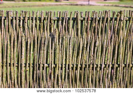 Details of the wooden vine fence in the village. Lithuania
