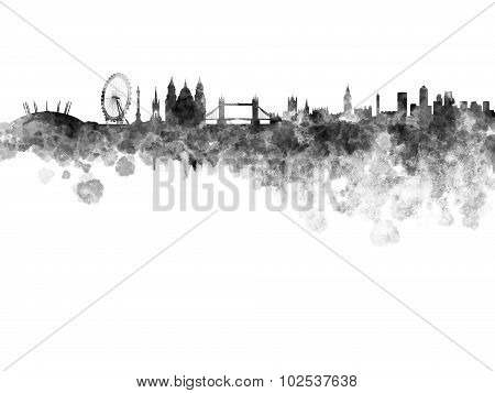 London Skyline In Black Watercolor