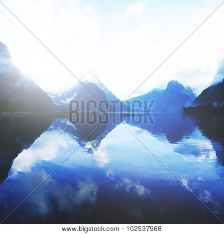 Mountains Milford Sound Travel New Zealand Concept