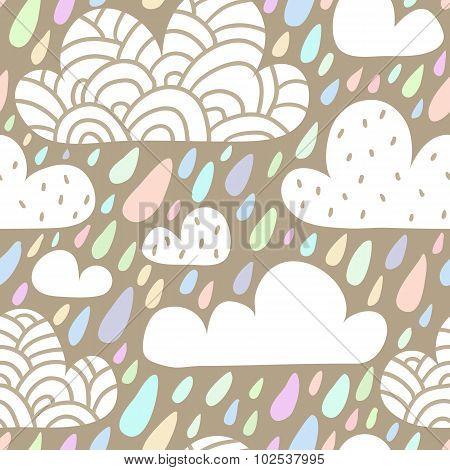 Seamless Pattern With Clouds And Falling Raindrops In Pastel Colors