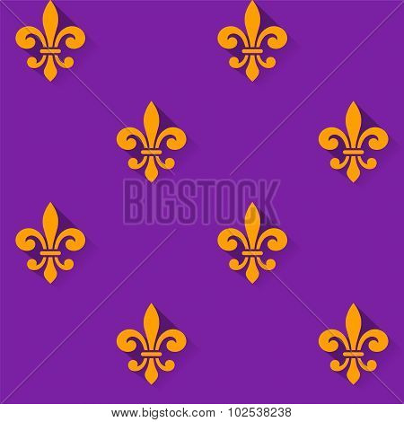 Seamless Pattern With Fleur-de-lis Symbol.