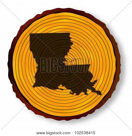 Louisiana Map On Timber