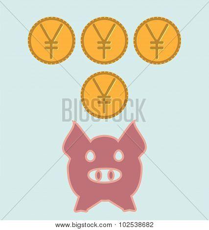 Illustration Piggy Yen Bank