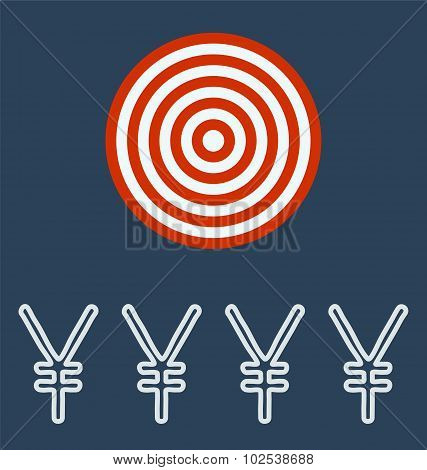 Yen Symbol Icon. Target Concept.