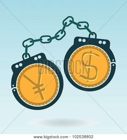 Handcuffs With Dollar And Yen (yuan) Symbols.